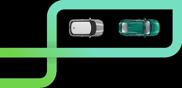 Carro SUV prateado com ângulo mostrando seu teto e capô.