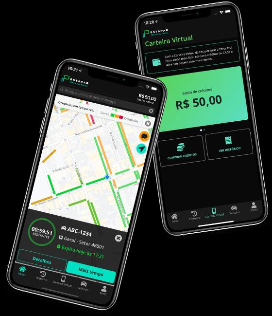 Celulares pretos com tela do aplicativo aberta mostrando um mapa de localização e a carteira virtual do estacionamento rotativo da Nova Zona Azul.